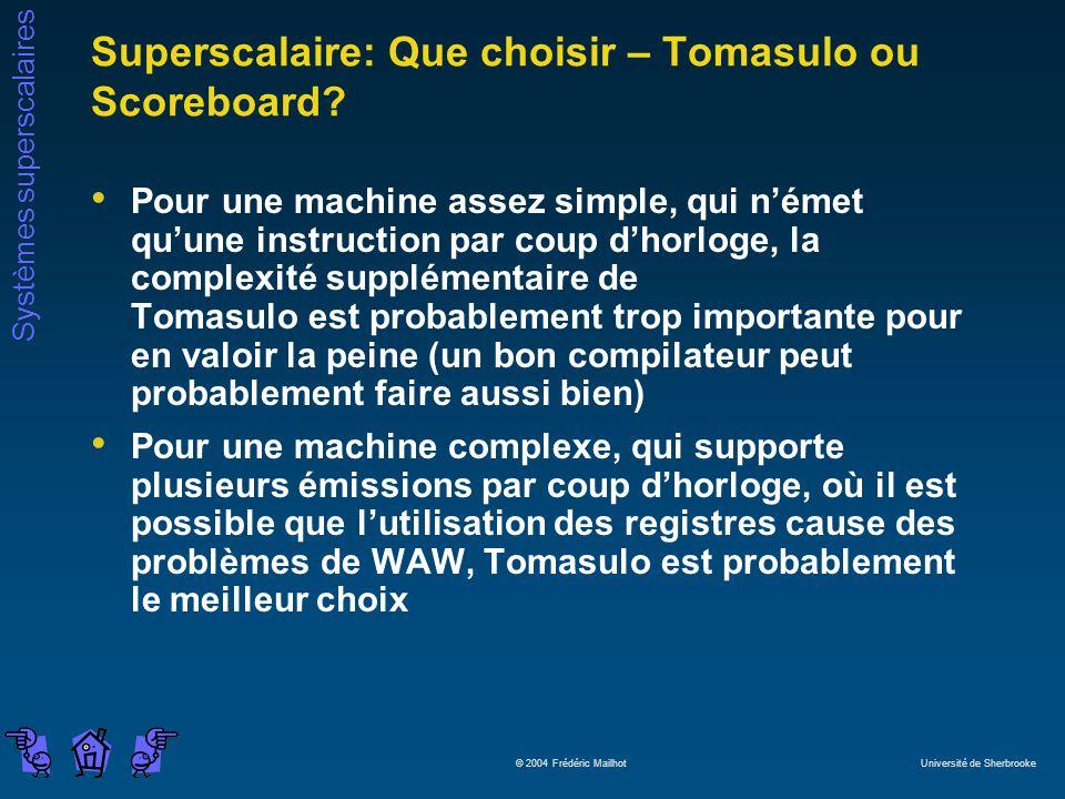 Systèmes superscalaires © 2004 Frédéric Mailhot Université de Sherbrooke Superscalaire: Que choisir – Tomasulo ou Scoreboard.