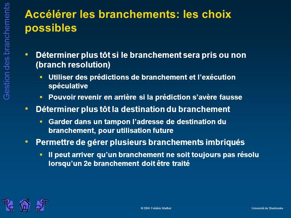 Gestion des branchements © 2004 Frédéric Mailhot Université de Sherbrooke Accélérer les branchements: les choix possibles Déterminer plus tôt si le br