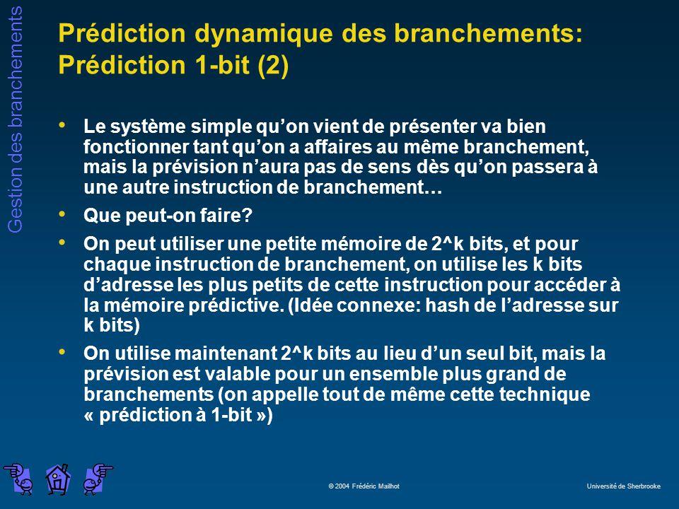 Gestion des branchements © 2004 Frédéric Mailhot Université de Sherbrooke Prédiction dynamique des branchements: Prédiction 1-bit (2) Le système simpl