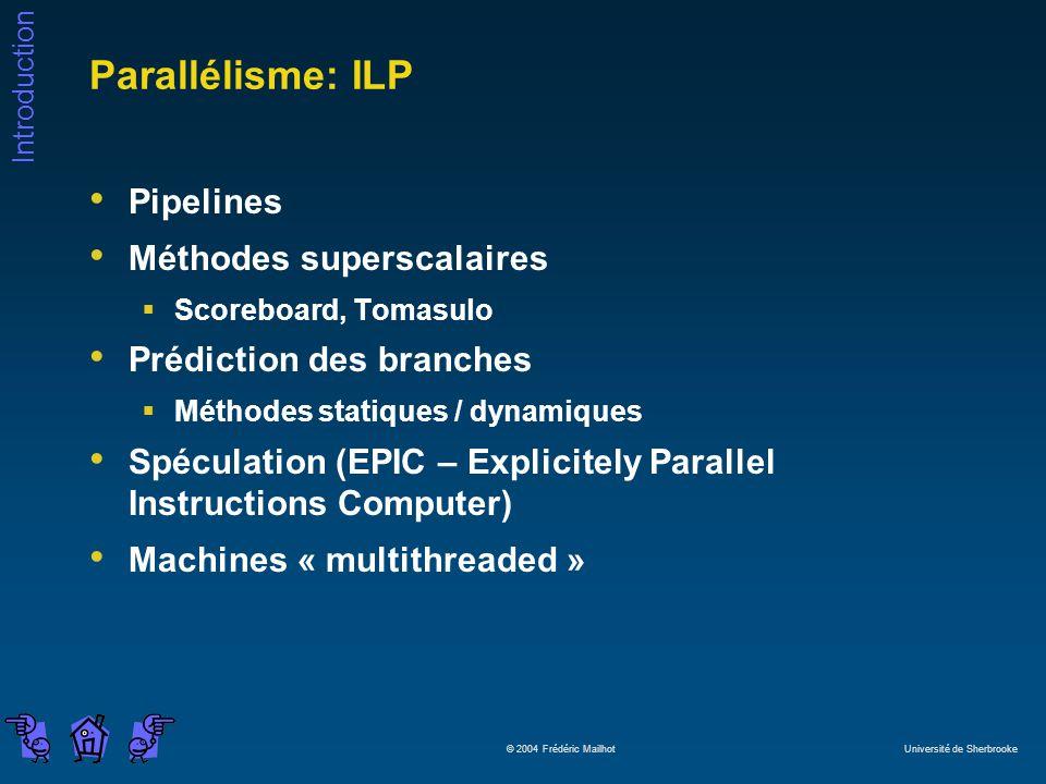 Introduction © 2004 Frédéric Mailhot Université de Sherbrooke Parallélisme: ILP Pipelines Méthodes superscalaires Scoreboard, Tomasulo Prédiction des