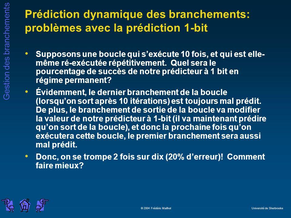 Gestion des branchements © 2004 Frédéric Mailhot Université de Sherbrooke Prédiction dynamique des branchements: problèmes avec la prédiction 1-bit Su
