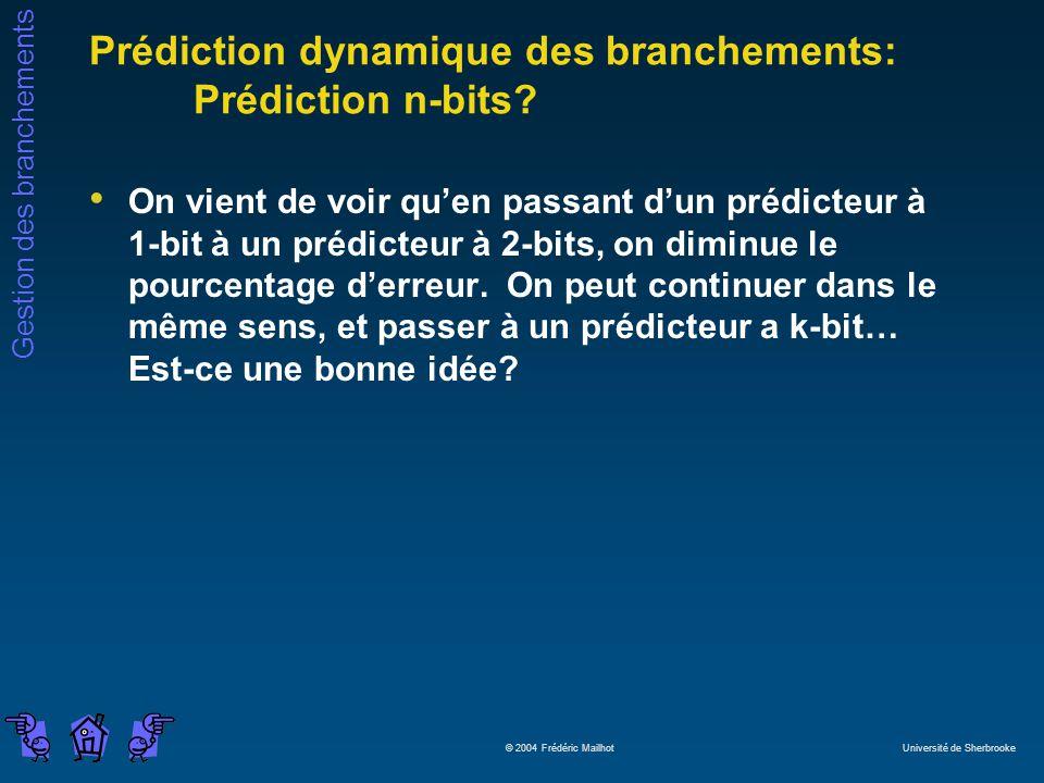 Gestion des branchements © 2004 Frédéric Mailhot Université de Sherbrooke Prédiction dynamique des branchements: Prédiction n-bits? On vient de voir q