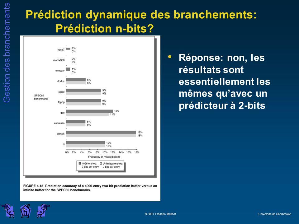 Gestion des branchements © 2004 Frédéric Mailhot Université de Sherbrooke Prédiction dynamique des branchements: Prédiction n-bits.