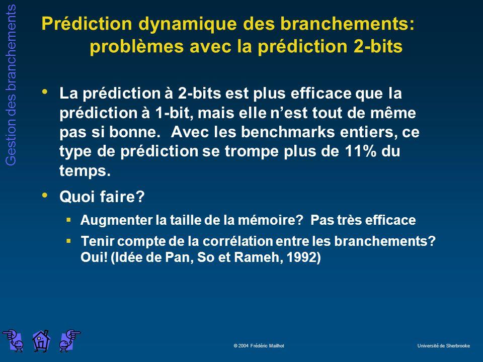 Gestion des branchements © 2004 Frédéric Mailhot Université de Sherbrooke Prédiction dynamique des branchements: problèmes avec la prédiction 2-bits L