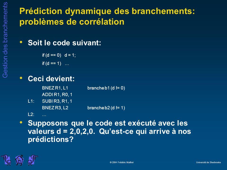 Gestion des branchements © 2004 Frédéric Mailhot Université de Sherbrooke Prédiction dynamique des branchements: problèmes de corrélation Soit le code suivant: if (d == 0) d = 1; if (d == 1)… Ceci devient: BNEZ R1, L1branche b1 (d != 0) ADDI R1, R0, 1 L1:SUBI R3, R1, 1 BNEZ R3, L2branche b2 (d != 1) L2:… Supposons que le code est exécuté avec les valeurs d = 2,0,2,0.