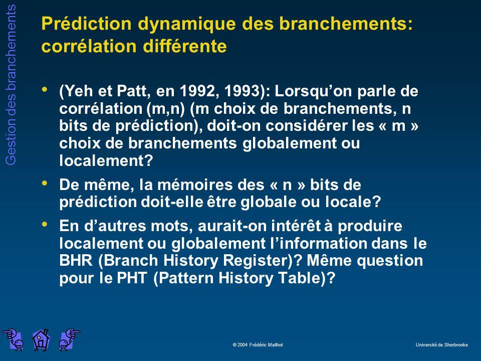 Gestion des branchements © 2004 Frédéric Mailhot Université de Sherbrooke Prédiction dynamique des branchements: corrélation différente (Yeh et Patt,