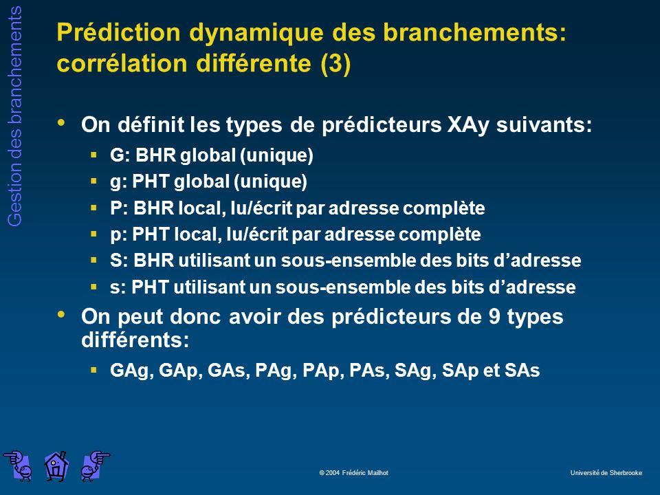 Gestion des branchements © 2004 Frédéric Mailhot Université de Sherbrooke Prédiction dynamique des branchements: corrélation différente (3) On définit