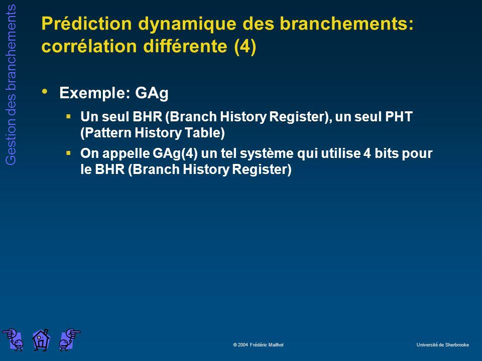 Gestion des branchements © 2004 Frédéric Mailhot Université de Sherbrooke Prédiction dynamique des branchements: corrélation différente (4) Exemple: G
