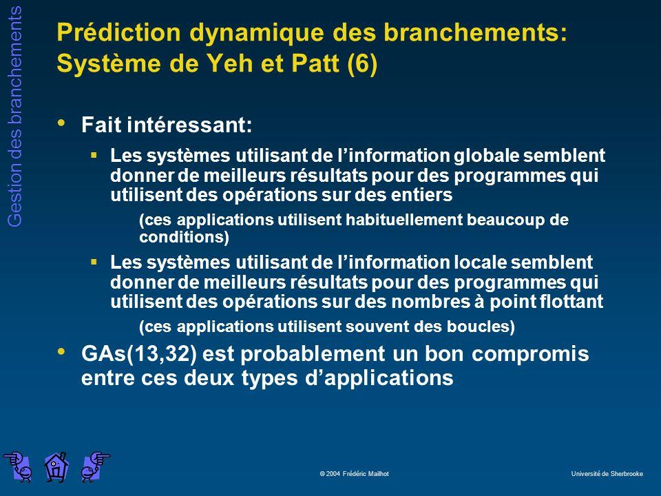 Gestion des branchements © 2004 Frédéric Mailhot Université de Sherbrooke Prédiction dynamique des branchements: Système de Yeh et Patt (6) Fait intér