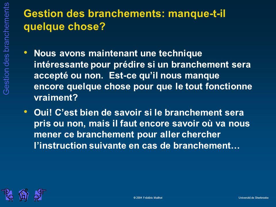 Gestion des branchements © 2004 Frédéric Mailhot Université de Sherbrooke Gestion des branchements: manque-t-il quelque chose? Nous avons maintenant u