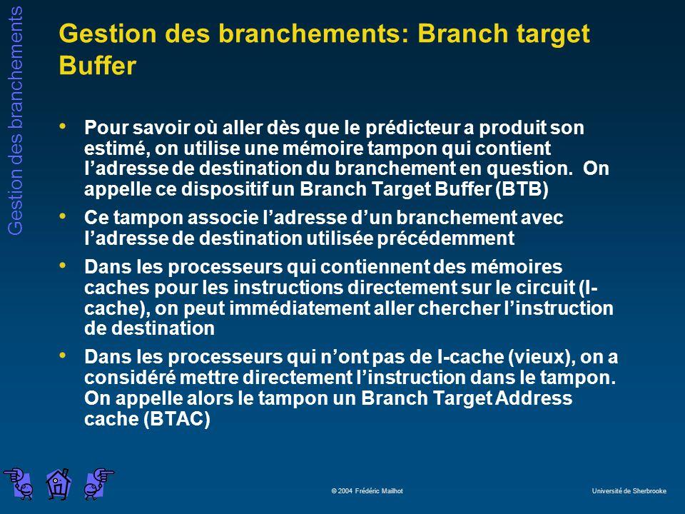 Gestion des branchements © 2004 Frédéric Mailhot Université de Sherbrooke Gestion des branchements: Branch target Buffer Pour savoir où aller dès que