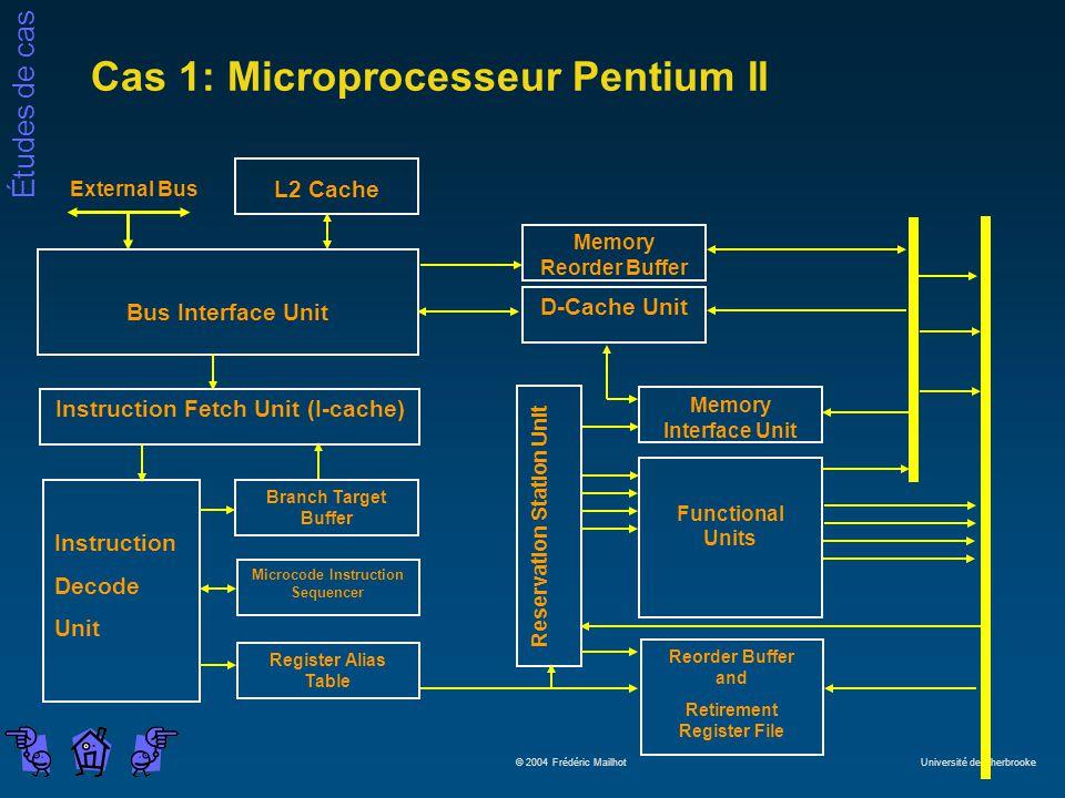 Études de cas © 2004 Frédéric Mailhot Université de Sherbrooke Cas 1: Microprocesseur Pentium II L2 Cache Bus Interface Unit Microcode Instruction Seq