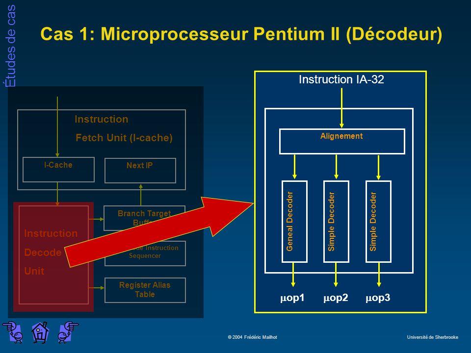 Études de cas © 2004 Frédéric Mailhot Université de Sherbrooke Cas 1: Microprocesseur Pentium II (Décodeur) Microcode Instruction Sequencer Instructio