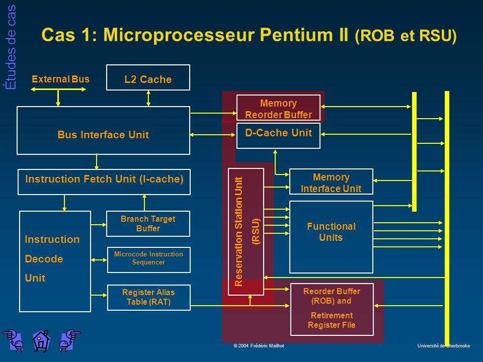 Études de cas © 2004 Frédéric Mailhot Université de Sherbrooke L2 Cache Bus Interface Unit Microcode Instruction Sequencer Instruction Fetch Unit (I-c