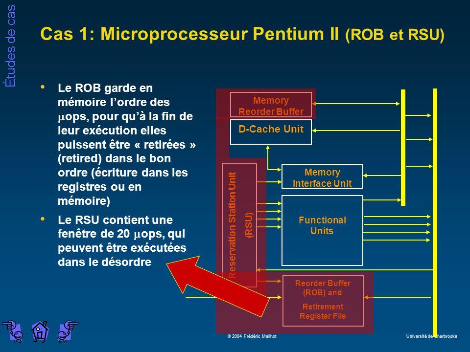 Études de cas © 2004 Frédéric Mailhot Université de Sherbrooke Cas 1: Microprocesseur Pentium II (ROB et RSU) Le ROB garde en mémoire lordre des ops, pour quà la fin de leur exécution elles puissent être « retirées » (retired) dans le bon ordre (écriture dans les registres ou en mémoire) Le RSU contient une fenêtre de 20 ops, qui peuvent être exécutées dans le désordre Memory Reorder Buffer D-Cache Unit Reservation Station Unit (RSU) Memory Interface Unit Functional Units Reorder Buffer (ROB) and Retirement Register File