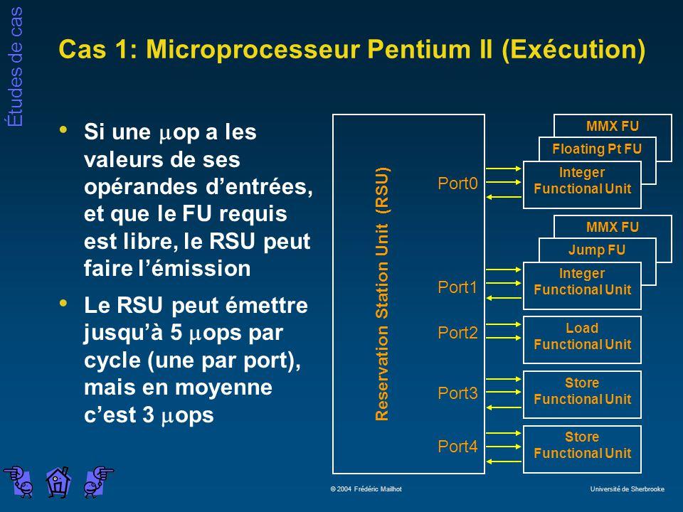 Études de cas © 2004 Frédéric Mailhot Université de Sherbrooke Cas 1: Microprocesseur Pentium II (Exécution) Reservation Station Unit (RSU) Port0 Port1 Port2 Port3 Port4 Store Functional Unit Load Functional Unit MMX FU Jump FU Integer Functional Unit MMX FU Floating Pt FU Integer Functional Unit Si une op a les valeurs de ses opérandes dentrées, et que le FU requis est libre, le RSU peut faire lémission Le RSU peut émettre jusquà 5 ops par cycle (une par port), mais en moyenne cest 3 ops