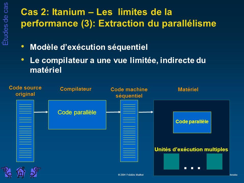Études de cas © 2004 Frédéric Mailhot Université de Sherbrooke Cas 2: Itanium – Les limites de la performance (3): Extraction du parallélisme Modèle d