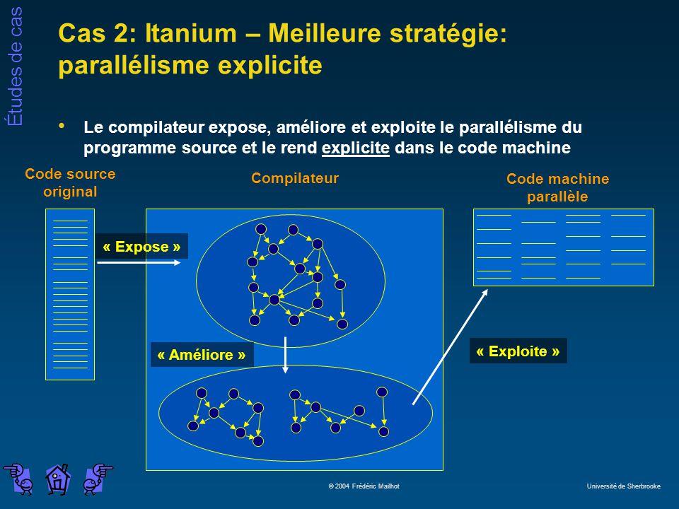 Études de cas © 2004 Frédéric Mailhot Université de Sherbrooke Compilateur « Expose » Cas 2: Itanium – Meilleure stratégie: parallélisme explicite Le