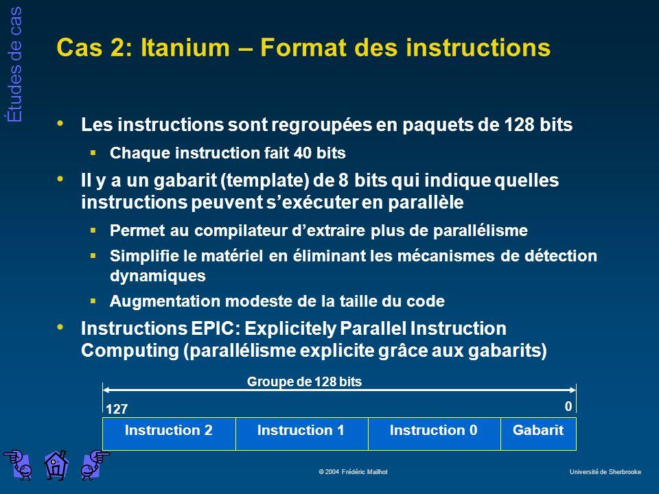 Études de cas © 2004 Frédéric Mailhot Université de Sherbrooke Cas 2: Itanium – Format des instructions Les instructions sont regroupées en paquets de