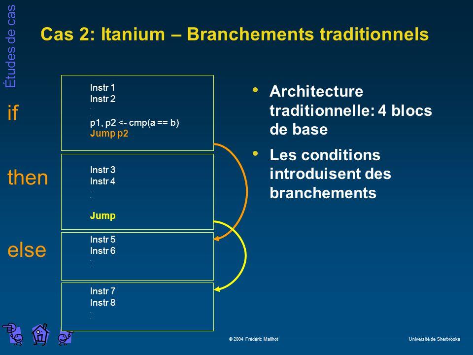Études de cas © 2004 Frédéric Mailhot Université de Sherbrooke Cas 2: Itanium – Branchements traditionnels Architecture traditionnelle: 4 blocs de base Les conditions introduisent des branchements Instr 1 Instr 2.
