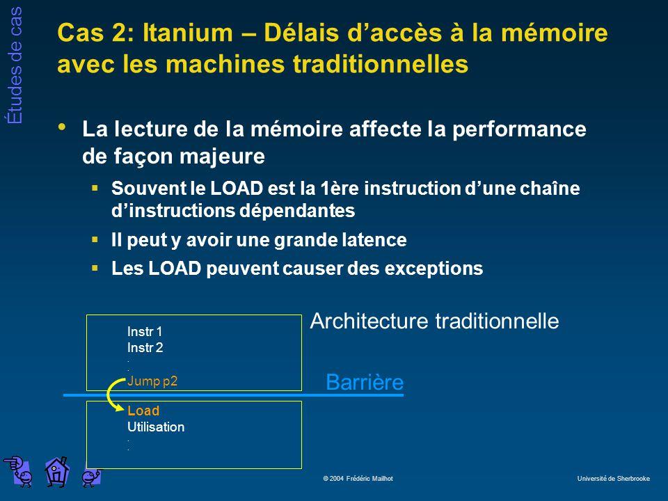 Études de cas © 2004 Frédéric Mailhot Université de Sherbrooke Cas 2: Itanium – Délais daccès à la mémoire avec les machines traditionnelles La lectur