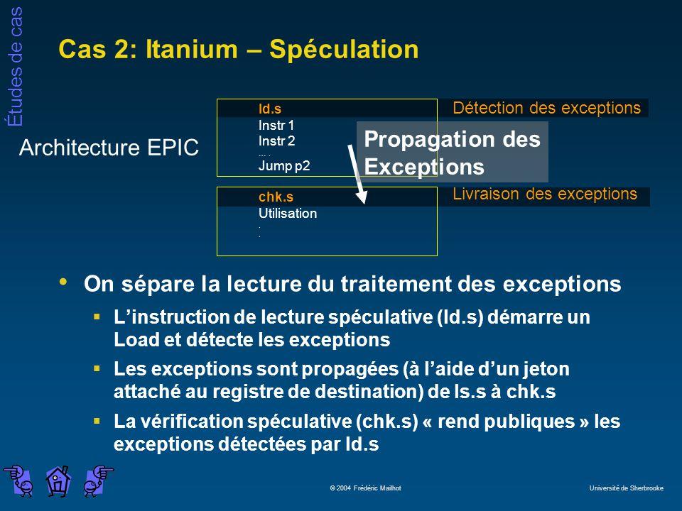 Études de cas © 2004 Frédéric Mailhot Université de Sherbrooke Cas 2: Itanium – Spéculation On sépare la lecture du traitement des exceptions Linstruc