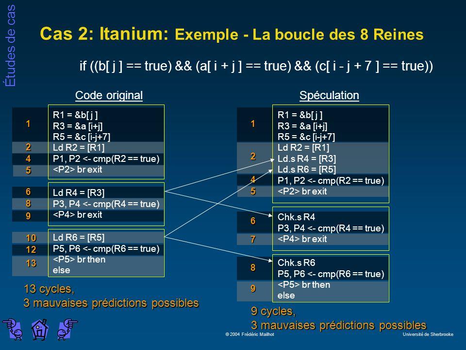 Études de cas © 2004 Frédéric Mailhot Université de Sherbrooke Cas 2: Itanium: Exemple - La boucle des 8 Reines if ((b[ j ] == true) && (a[ i + j ] == true) && (c[ i - j + 7 ] == true)) Code original R1 = &b[ j ] R3 = &a [i+j] R5 = &c [i-j+7] Ld R2 = [R1] P1, P2 <- cmp(R2 == true) br exit Ld R4 = [R3] P3, P4 <- cmp(R4 == true) br exit Ld R6 = [R5] P5, P6 <- cmp(R6 == true) br then else 1 2 4 5 6 8 9 10 12 13 13 cycles, 3 mauvaises prédictions possibles 9 cycles, 3 mauvaises prédictions possibles 7 4 5 Spéculation R1 = &b[ j ] R3 = &a [i+j] R5 = &c [i-j+7] Ld R2 = [R1] Ld.s R4 = [R3] Ld.s R6 = [R5] P1, P2 <- cmp(R2 == true) br exit 1 2 Chk.s R4 P3, P4 <- cmp(R4 == true) br exit 6 Chk.s R6 P5, P6 <- cmp(R6 == true) br then else 8 9