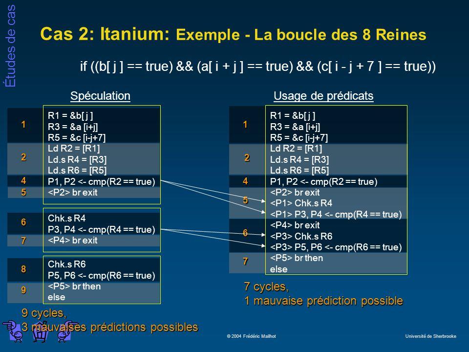 Études de cas © 2004 Frédéric Mailhot Université de Sherbrooke Cas 2: Itanium: Exemple - La boucle des 8 Reines if ((b[ j ] == true) && (a[ i + j ] == true) && (c[ i - j + 7 ] == true)) 9 cycles, 3 mauvaises prédictions possibles 7 4 5 Spéculation R1 = &b[ j ] R3 = &a [i+j] R5 = &c [i-j+7] Ld R2 = [R1] Ld.s R4 = [R3] Ld.s R6 = [R5] P1, P2 <- cmp(R2 == true) br exit 1 2 Chk.s R4 P3, P4 <- cmp(R4 == true) br exit 6 Chk.s R6 P5, P6 <- cmp(R6 == true) br then else 8 9 7 cycles, 1 mauvaise prédiction possible 2 Usage de prédicats R1 = &b[ j ] R3 = &a [i+j] R5 = &c [i-j+7] Ld R2 = [R1] Ld.s R4 = [R3] Ld.s R6 = [R5] P1, P2 <- cmp(R2 == true) br exit Chk.s R4 P3, P4 <- cmp(R4 == true) br exit Chk.s R6 P5, P6 <- cmp(R6 == true) br then else 1 4 5 7 6