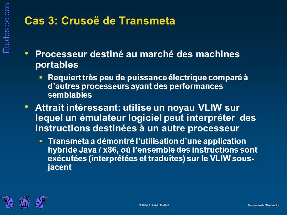 Études de cas © 2004 Frédéric Mailhot Université de Sherbrooke Cas 3: Crusoë de Transmeta Processeur destiné au marché des machines portables Requiert