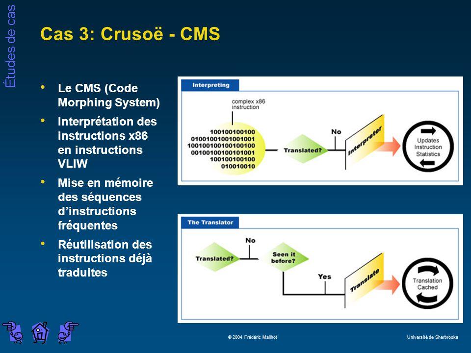 Études de cas © 2004 Frédéric Mailhot Université de Sherbrooke Cas 3: Crusoë - CMS Le CMS (Code Morphing System) Interprétation des instructions x86 e