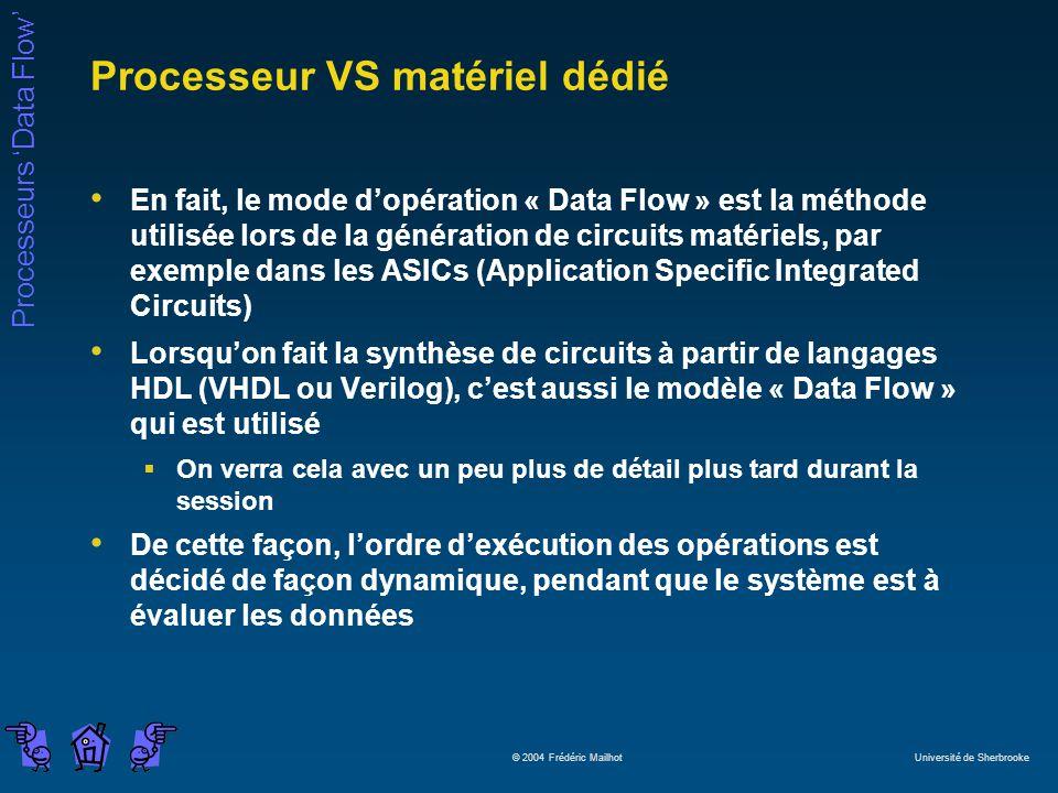 Processeurs Data Flow © 2004 Frédéric Mailhot Université de Sherbrooke Processeur VS matériel dédié En fait, le mode dopération « Data Flow » est la méthode utilisée lors de la génération de circuits matériels, par exemple dans les ASICs (Application Specific Integrated Circuits) Lorsquon fait la synthèse de circuits à partir de langages HDL (VHDL ou Verilog), cest aussi le modèle « Data Flow » qui est utilisé On verra cela avec un peu plus de détail plus tard durant la session De cette façon, lordre dexécution des opérations est décidé de façon dynamique, pendant que le système est à évaluer les données