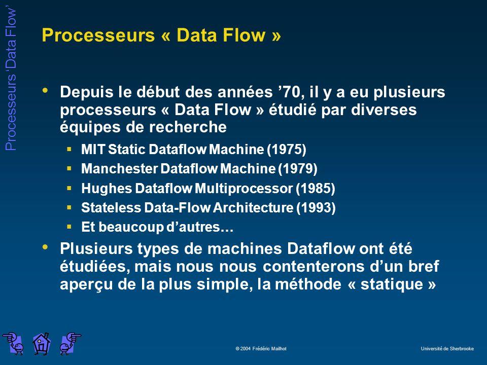Processeurs Data Flow © 2004 Frédéric Mailhot Université de Sherbrooke Processeurs « Data Flow » Depuis le début des années 70, il y a eu plusieurs processeurs « Data Flow » étudié par diverses équipes de recherche MIT Static Dataflow Machine (1975) Manchester Dataflow Machine (1979) Hughes Dataflow Multiprocessor (1985) Stateless Data-Flow Architecture (1993) Et beaucoup dautres… Plusieurs types de machines Dataflow ont été étudiées, mais nous nous contenterons dun bref aperçu de la plus simple, la méthode « statique »