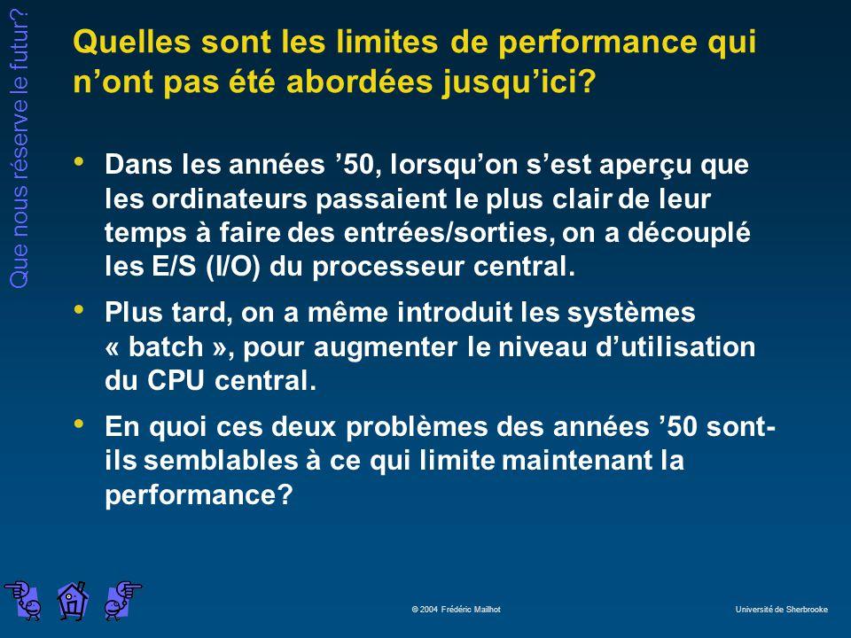 Que nous réserve le futur? © 2004 Frédéric Mailhot Université de Sherbrooke Quelles sont les limites de performance qui nont pas été abordées jusquici
