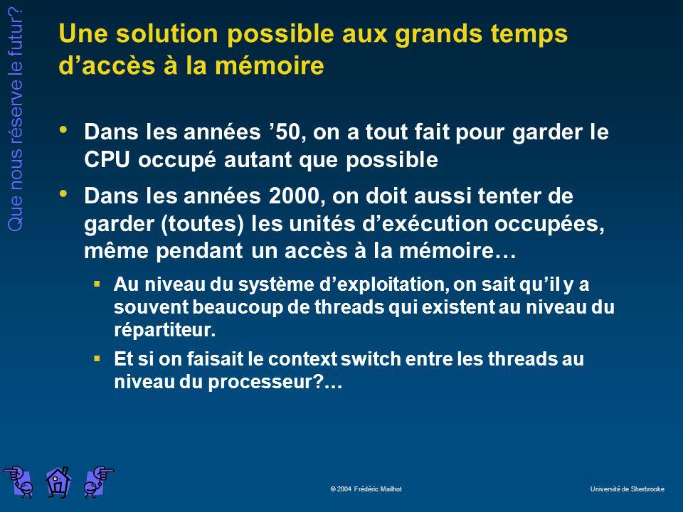Que nous réserve le futur? © 2004 Frédéric Mailhot Université de Sherbrooke Une solution possible aux grands temps daccès à la mémoire Dans les années
