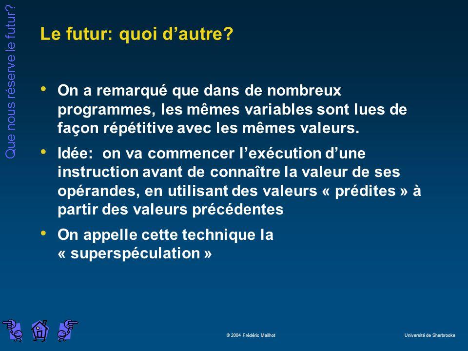 Que nous réserve le futur? © 2004 Frédéric Mailhot Université de Sherbrooke Le futur: quoi dautre? On a remarqué que dans de nombreux programmes, les