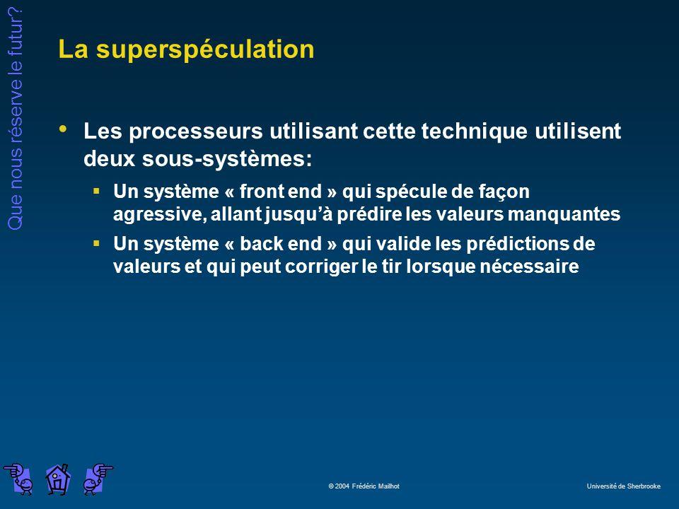 Que nous réserve le futur? © 2004 Frédéric Mailhot Université de Sherbrooke La superspéculation Les processeurs utilisant cette technique utilisent de