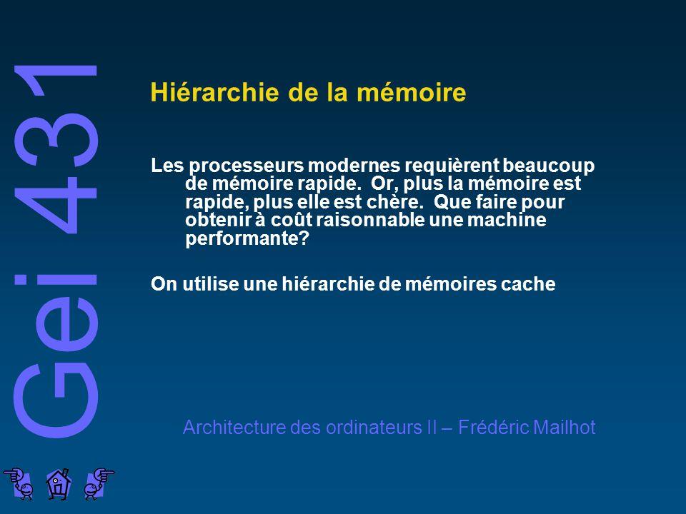 Gei 431 Architecture des ordinateurs II – Frédéric Mailhot Hiérarchie de la mémoire Les processeurs modernes requièrent beaucoup de mémoire rapide.