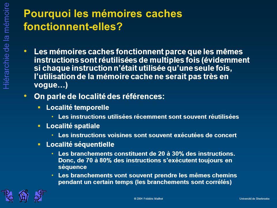 Hiérarchie de la mémoire © 2004 Frédéric Mailhot Université de Sherbrooke Pourquoi les mémoires caches fonctionnent-elles? Les mémoires caches fonctio