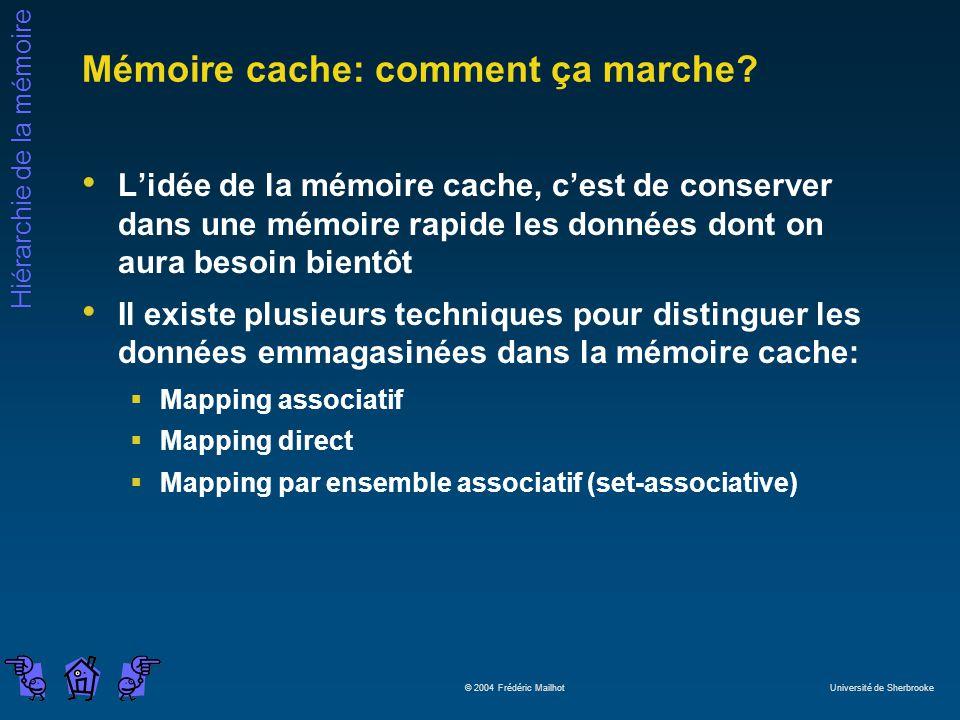 Hiérarchie de la mémoire © 2004 Frédéric Mailhot Université de Sherbrooke Mémoire cache: comment ça marche? Lidée de la mémoire cache, cest de conserv
