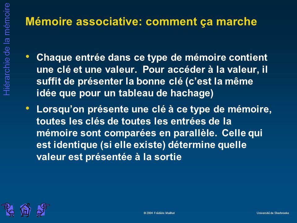 Hiérarchie de la mémoire © 2004 Frédéric Mailhot Université de Sherbrooke Mémoire associative: comment ça marche Chaque entrée dans ce type de mémoire contient une clé et une valeur.