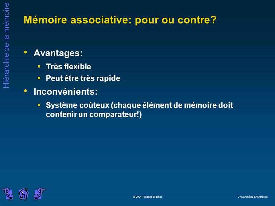 Hiérarchie de la mémoire © 2004 Frédéric Mailhot Université de Sherbrooke Mémoire associative: pour ou contre? Avantages: Très flexible Peut être très
