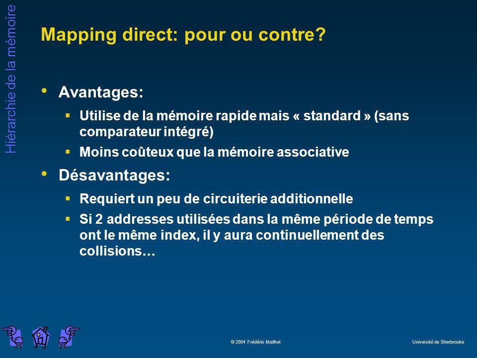 Hiérarchie de la mémoire © 2004 Frédéric Mailhot Université de Sherbrooke Mapping direct: pour ou contre? Avantages: Utilise de la mémoire rapide mais