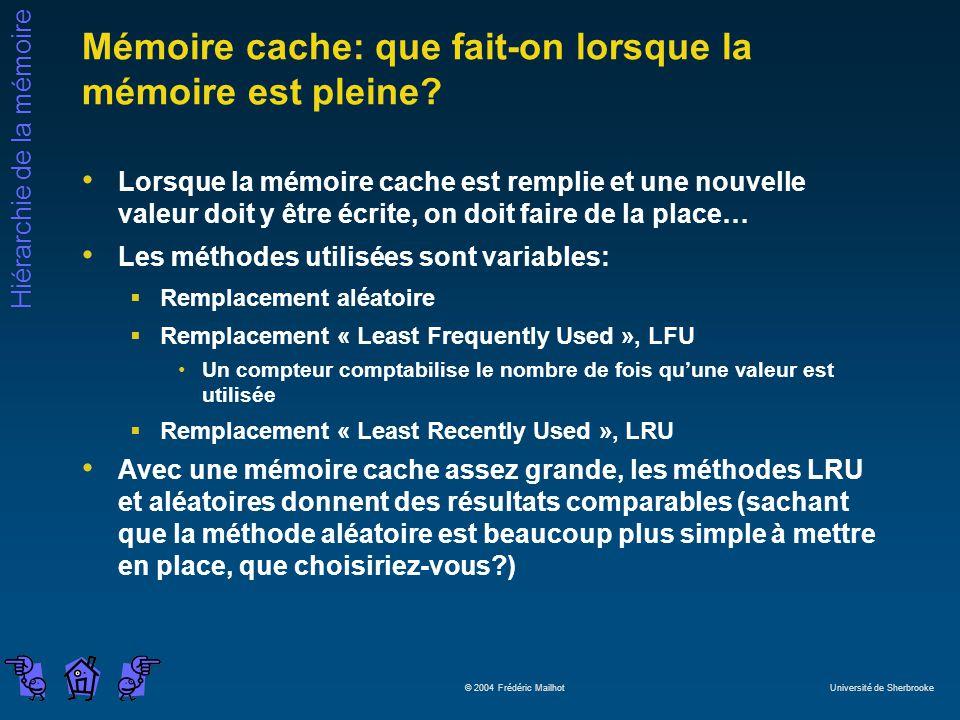 Hiérarchie de la mémoire © 2004 Frédéric Mailhot Université de Sherbrooke Mémoire cache: que fait-on lorsque la mémoire est pleine? Lorsque la mémoire