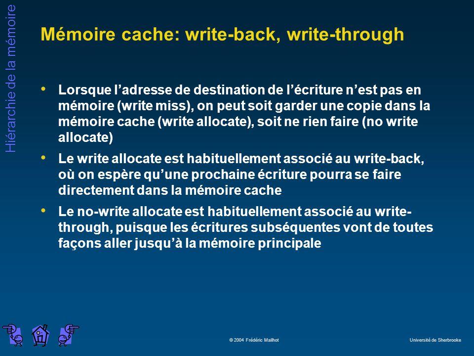 Hiérarchie de la mémoire © 2004 Frédéric Mailhot Université de Sherbrooke Mémoire cache: write-back, write-through Lorsque ladresse de destination de