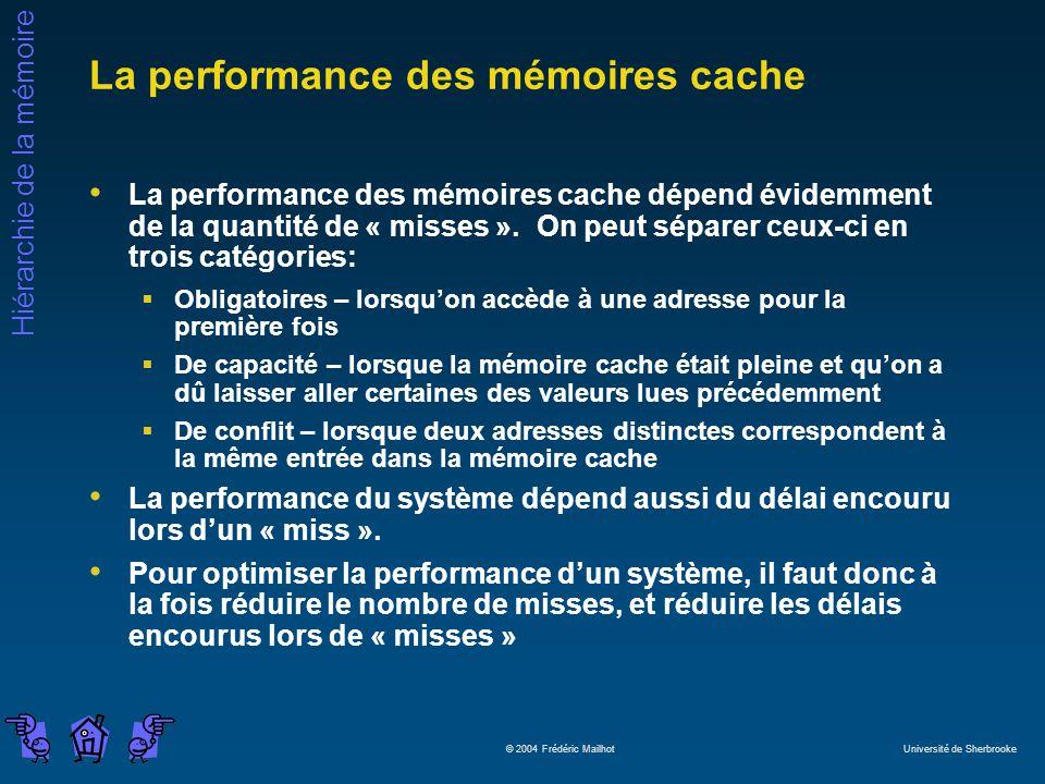 Hiérarchie de la mémoire © 2004 Frédéric Mailhot Université de Sherbrooke La performance des mémoires cache La performance des mémoires cache dépend évidemment de la quantité de « misses ».