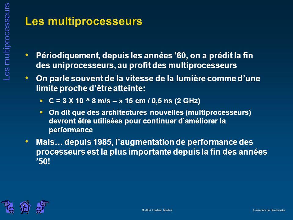 Les multiprocesseurs © 2004 Frédéric Mailhot Université de Sherbrooke Les multiprocesseurs Périodiquement, depuis les années 60, on a prédit la fin de