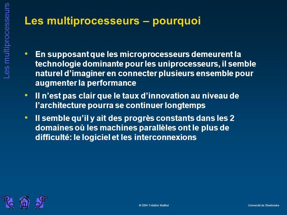 Les multiprocesseurs © 2004 Frédéric Mailhot Université de Sherbrooke Les multiprocesseurs – pourquoi En supposant que les microprocesseurs demeurent