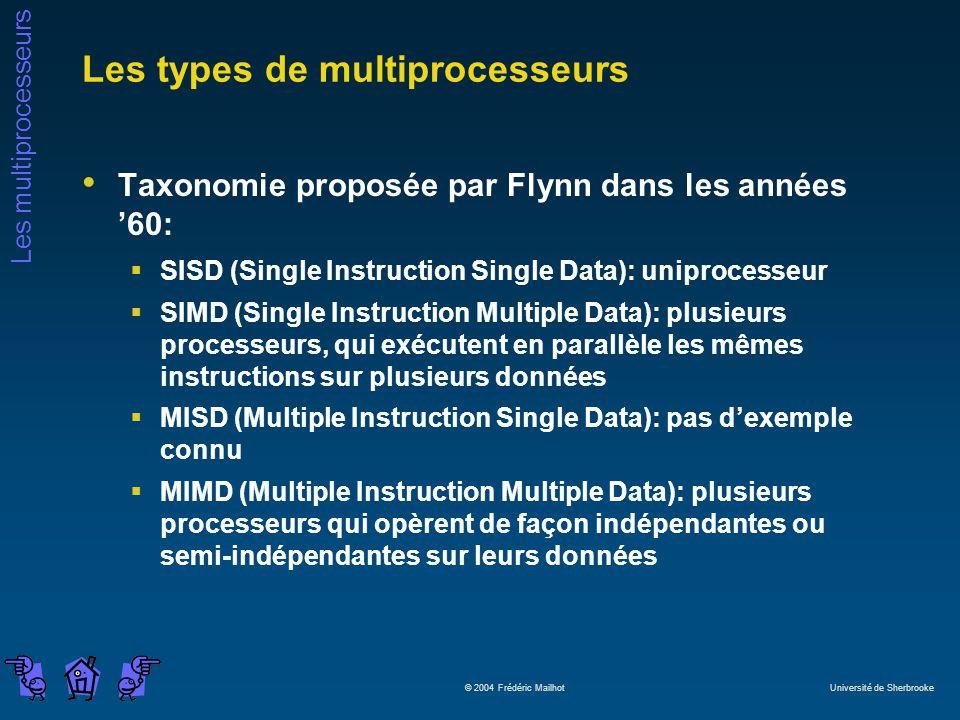 Les multiprocesseurs © 2004 Frédéric Mailhot Université de Sherbrooke Les types de multiprocesseurs Taxonomie proposée par Flynn dans les années 60: S