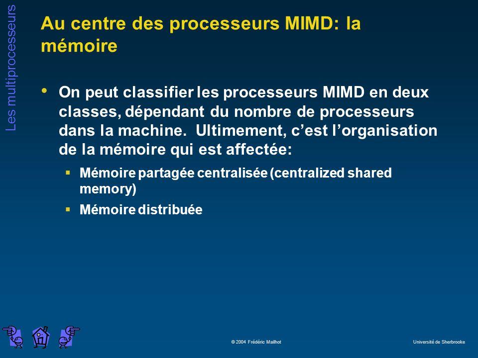 Les multiprocesseurs © 2004 Frédéric Mailhot Université de Sherbrooke Au centre des processeurs MIMD: la mémoire On peut classifier les processeurs MIMD en deux classes, dépendant du nombre de processeurs dans la machine.