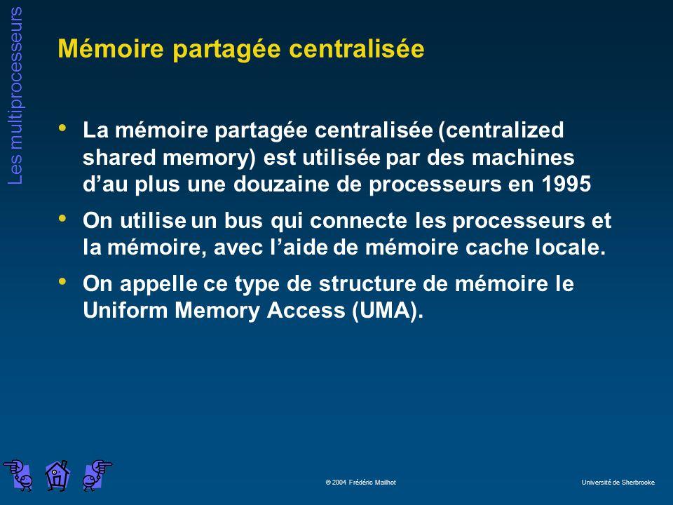 Les multiprocesseurs © 2004 Frédéric Mailhot Université de Sherbrooke Mémoire partagée centralisée La mémoire partagée centralisée (centralized shared memory) est utilisée par des machines dau plus une douzaine de processeurs en 1995 On utilise un bus qui connecte les processeurs et la mémoire, avec laide de mémoire cache locale.